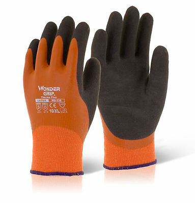 Wonder Grip Gloves WG338 THERMO Plus Latex Thermal Lined & Waterproof Orange
