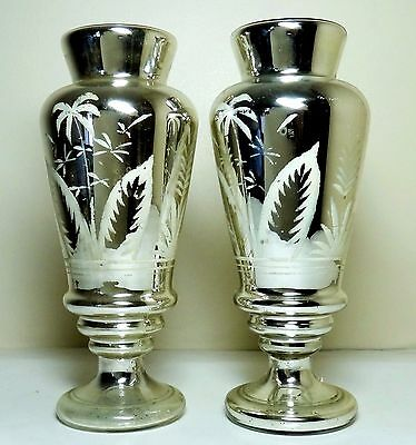 "TWO Matching Mid-1800's 'Palms' 11.5"" Silver Mercury-Glass & White-Etched Vases"