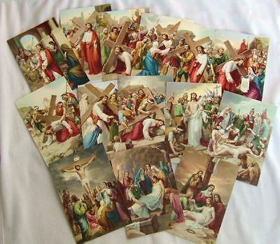 """14 Stations of Cross set  pictures Large Holy Cards 4x6"""" from Italy VIA CRUCIS"""