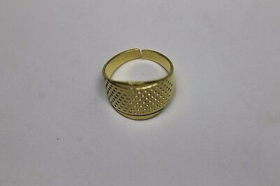 Thimble Ring Adjustable Protecting finger's from Beading Needle's Golden Tone