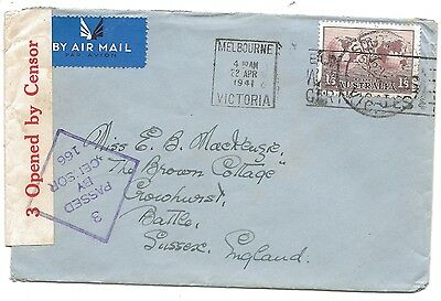 WW2 1941 South Yarra Melbourne Censored 1s6d Air Mail Cover to Battle Sussex
