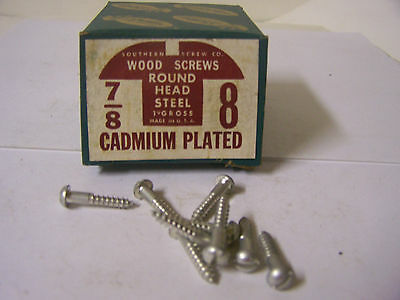 """#8 x 7/8"""" Round Head Cadmium Plated Wood Screws Slotted Made in USA - Qty.144"""