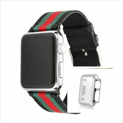 Stripes Black Mix Colour Woven Wrist Band For Apple Watch38mm Silver Case x 1