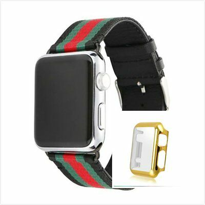Stripes Black Mix Colour Woven Wrist Band SFor Apple Watch 38mm Gold Case x 1