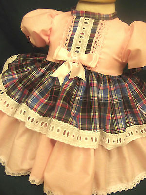 Dream Baby Spanish Pink Blue Check Dress 0-3 3-6 6-12 12-18 Months  Reborn Doll