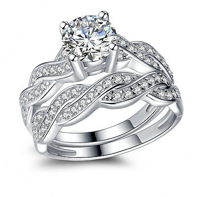 2.75 CTW Round Cut AAA CZ 925 Sterling Silver Wedding Ring Set Women's Size 5-10