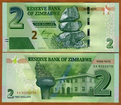 1 x ZIMBABWE 2 DOLLAR BANKNOTE- 2016 P NEW-UNC CURRENCY