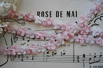 1y VINTAGE FRENCH OMBRE PINK ROCOCO ROSETTE FLOWER RIBBON WORK TRIM DOLL BEAR