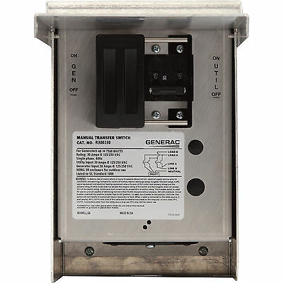 Generac Manual Transfer Switch30 Amps, 125/250 Volts, Single Phase,# 6377