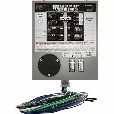 Generac 6376 Manual Prewired Transfer Switch 30 Amps, 125/250V, 6 Circuits