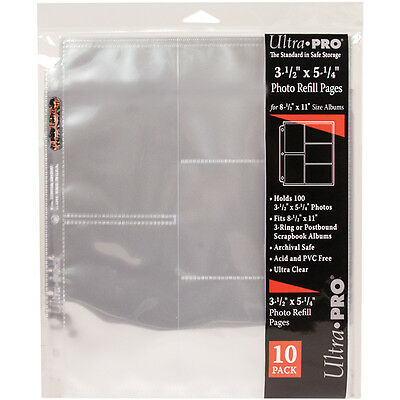 """Ultra Pro 8.5""""x11"""" Refill Pages 10/Pkg-For 3.5""""X5.25"""" Photos"""