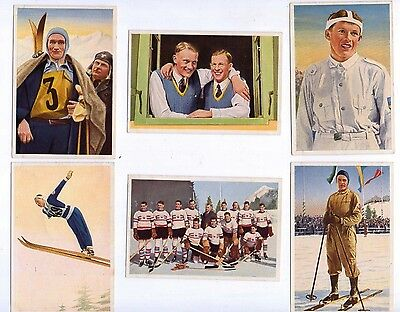 1936 Olympia by Muhlen Franck, Serie 8 1 to 6, Winter Sports colour cards