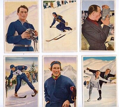 1936 Olympia by Muhlen Franck, Serie 7 1 to 6, Winter Sports colour cards