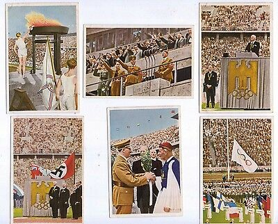 1936 Olympia by Muhlen Franck, Serie 10 1 to 6 Opening Ceremony etc Colour cards