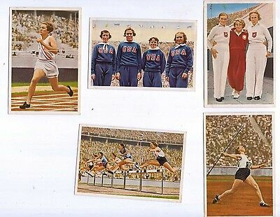 1936 Olympia by Muhlen Franck, Serie 17 1 to 5, Womens Athletics incl USA stars