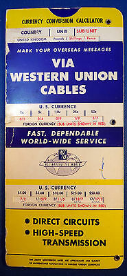 Vintage Western Union Currency Conversion Calculator Overseas Via Cables – 1955