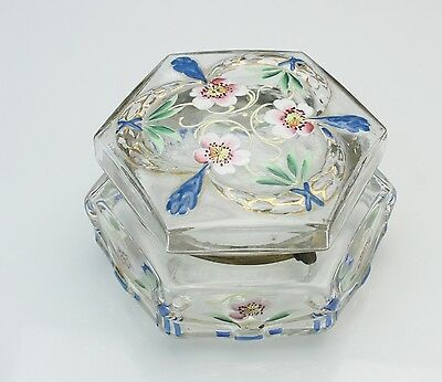 Victorian Art Glass Hexagonal Dresser Box with Enameled Flowers