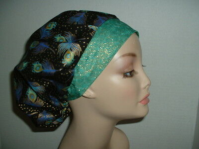 Peacock feathers Turquoise Gold OR Bouffant Scrub Hat CNOR CRNA CORT Chef