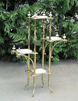 19th c Victorian Fancy Brass & Onyx Tiered Plant Fern Display Stand w Finials