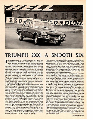 1965 Triumph 2000 ~ Original Article / Ad