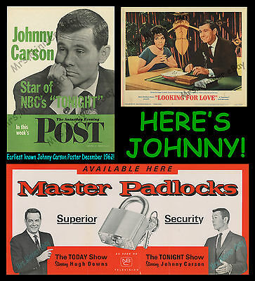 The Ultimate Johnny Carson Collection ☆ Earlist Known ☆ Movie & Tv Posters 1962!