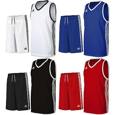 adidas Boy's Basketball Kit Long Shorts & Vest Jersey Team Wear Training Sport