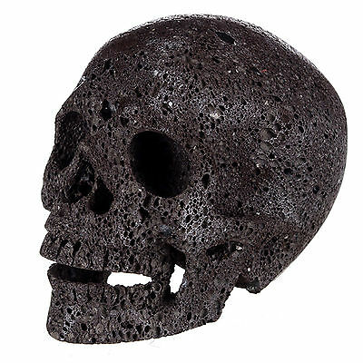 """4.88""""Natural Hot Lava Carved Crystal Realistic Smiling Skull Head Carving #18W88"""