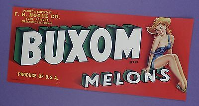 c1940's Crate Label - Buxom Melons Pin Up - Original Unused Stock