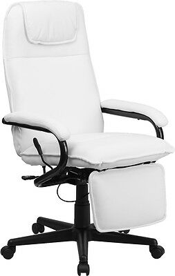 Flash Furniture High Back White Leather Executive Reclining Swivel Office Chair