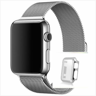 Milanese Silver Magnetic Stainless Steel Watch Strap Band Apple 42mm Silver Case