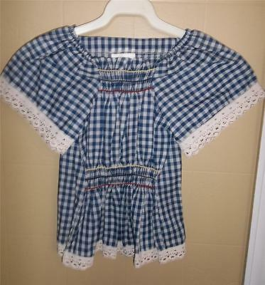 GIRL'S VTG 1970s BLUE & WHITE GINGHMAM BLOUSE W/ LACE TRIM WIDE SLEEVES SZ 6 NOS