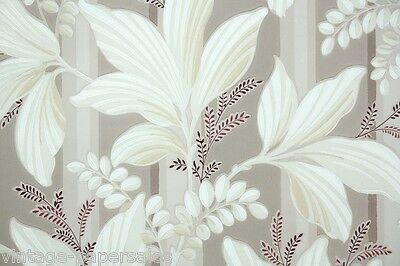 1940s Vintage Wallpaper White Leaves on Taupe and White Stripe