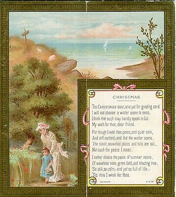 Victorian Christmas Card ,folding,Decorative,Lady ,Girl,Sea view ,Verse.