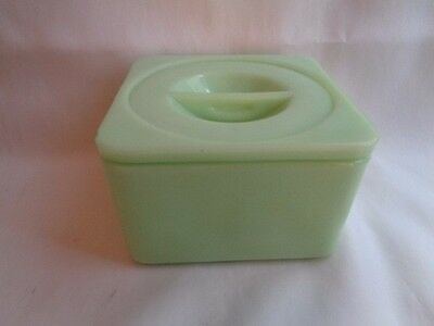 Depression  Jeanette Glass Jadeite Refrig. Food Container W/lid