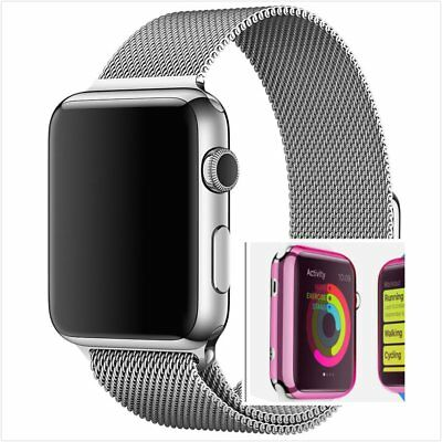 Milanese Silver Magnetic For Apple iWatch Strap Band  42mm Pink Case