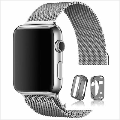 Milanese Silver Magnetic Stainless Steel Strap Band Apple Watch 42mm Clear Black