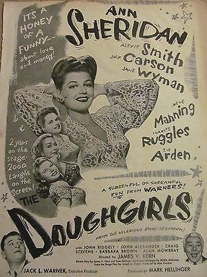 Doughgirls, Ann Sheridan, Full Page Vintage Promotional Ad