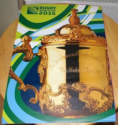 2015 RUGBY WORLD CUP ADVERTISING POSTER - NEW & UNUSED (trophy)
