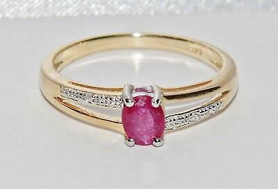 Beautiful 9ct Yellow Gold & Silver 0.40ct Ruby & Diamond Ladies Ring - size N