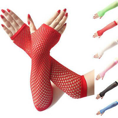 Pair Ladies Girls Neon Sexy Long Fingerless Fishnet Lace High Elasticity Gloves