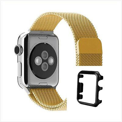 iWatch 38 Milanese Gold Magnetic For Apple Strap Band Black Case