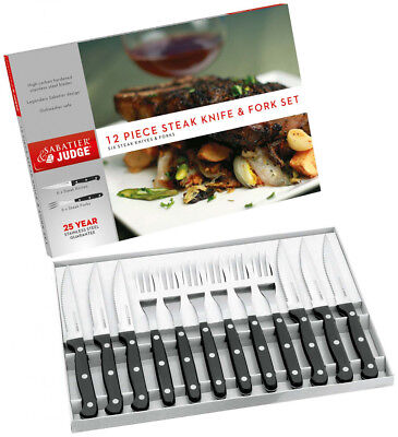 Pack Of 12 Judge Sabatier Stainless Steel Steak Serving Cutlery Set Knive forks