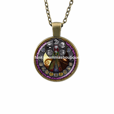Nightmare Before Christmas Kingdom Of Hearts Glass Pendant Necklace In Gift Bag