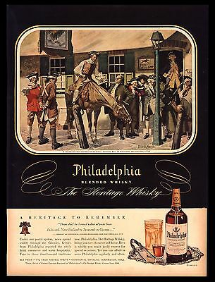 "Original 1948 ""philadelphia Whiskey"" Ben Franklin First Postmaster Art Print Ad"