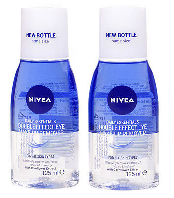 2 X Nivea Daily Essentials Double Effect Waterproof Eye Makeup Remover 125ml