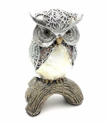 Silver Shell Owl Ornament Figurine Gift 66015