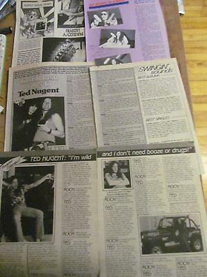 Ted Nugent, Lot of FOUR Vintage Clippings