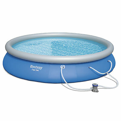 "Bestway 15' x 33"" Fast Set Inflatable Above Ground Swimming Pool w/ Filter Pump"