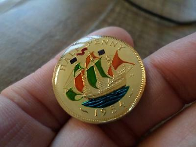 Vintage Enamelled Half Penny Coin. Many Years Available. Lucky Charm Gifts