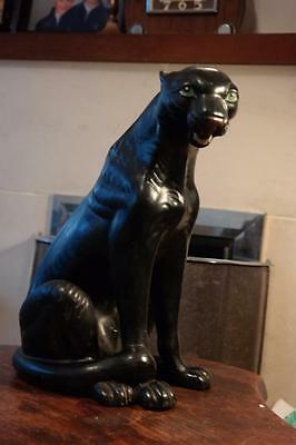 Large Vintage Black Panther 50's Retro Kitsch Pottery Panther Hand Painted Face